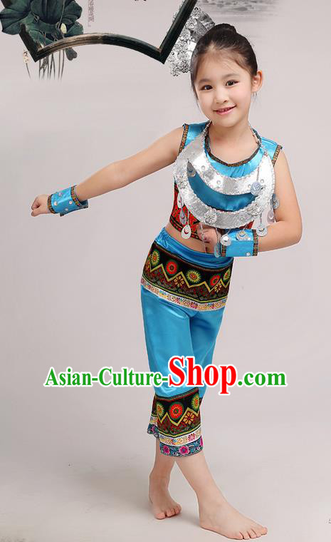 Top Grade Chinese Miao Nationality Little Girls Costume, Children Hmong Dance Blue Clothing for Kids