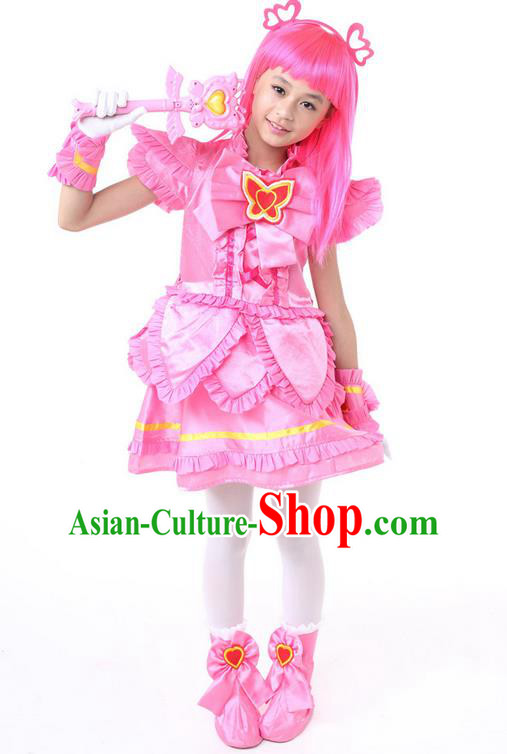 Top Grade Chinese Professional Halloween Performance Little Fairy Costume Complete Set, Children Cosplay Princess Pink Bubble Dress for Kids