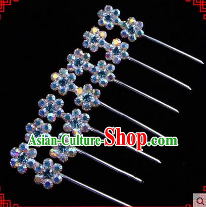 Chinese Ancient Peking Opera Head Accessories Young Lady Diva Colorful Crystal Headwear Wintersweet Blue Hairpins Complete Set, Traditional Chinese Beijing Opera Hua Tan Head-ornaments