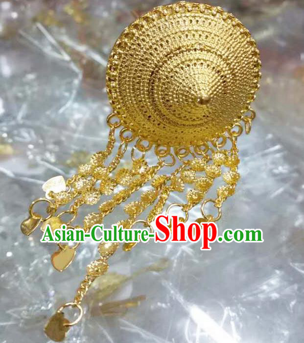 Traditional Thailand Ancient Handmade Hair Accessories, Traditional Thai China Dai Nationality Golden Hairpins Headwear for Women