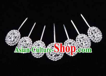 Chinese Ancient Peking Opera Head Accessories Young Lady Diva Crystal White Hairpins Complete Set, Traditional Chinese Beijing Opera Hua Tan Hair Clasp Head-ornaments