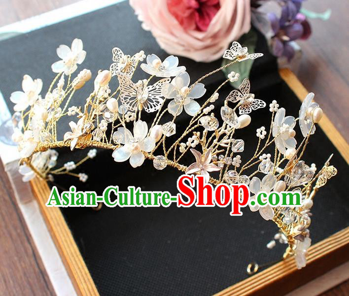 Top Grade Handmade Wedding Bride Hair Accessories Love of Butterfly Crown, Traditional Baroque Princess Crystal Royal Crown Wedding Headpiece for Women