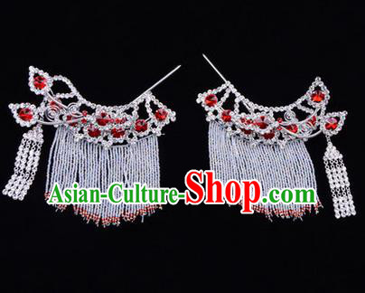 Chinese Ancient Peking Opera Head Accessories Diva Red Crystal Tassel Hairpins Temples Curtain, Traditional Chinese Beijing Opera Princess Hua Tan Hair Clasp Head-ornaments