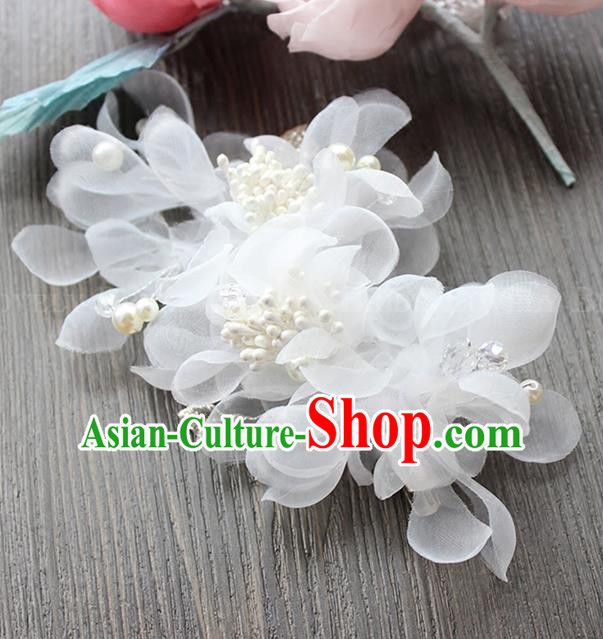 Top Grade Handmade Wedding Bride Hair Accessories Headwear, Traditional Princess Baroque White Flowers Hair Claw Wedding Headpiece for Women