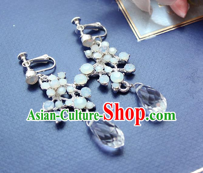 Top Grade Handmade Wedding Bride Accessories Blue Crystal Earrings, Traditional Princess Baroque Wedding Eardrop for Women