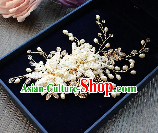 Top Grade Handmade Wedding Bride Hair Accessories Headwear, Traditional Princess Baroque Hair Comb Headpiece for Women