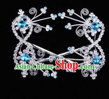 Chinese Ancient Peking Opera Head Accessories Diva Blue Crystal Bowknot Hairpins, Traditional Chinese Beijing Opera Princess Hua Tan Hair Clasp Head-ornaments
