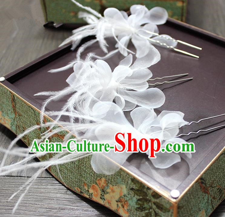 Top Grade Handmade Wedding Bride Hair Accessories Hairpins, Traditional Baroque Queen Feather White Silk Hair Stick Wedding Headpiece for Women