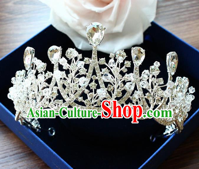 Top Grade Handmade Wedding Bride Hair Accessories Crown, Traditional Baroque Queen Zircon Crystal Royal Crown Wedding Headpiece for Women