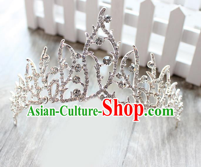 Top Grade Handmade Wedding Bride Hair Accessories, Traditional Baroque Queen Royal Crown Wedding Headpiece for Women