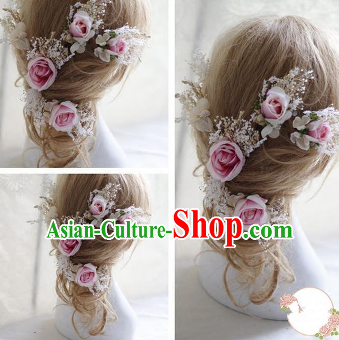 Top Grade Handmade Wedding Bride Hair Accessories Pink Flowers Hairpin, Traditional Princess Baroque Rose Headpiece for Women