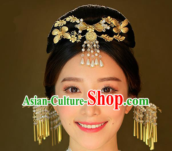 Top Grade Chinese Handmade Wedding Hair Accessories Forehead Ornament, Traditional China Xiuhe Suit Phoenix Coronet Bride Hanfu Tassel Hairpins Complete Set for Women
