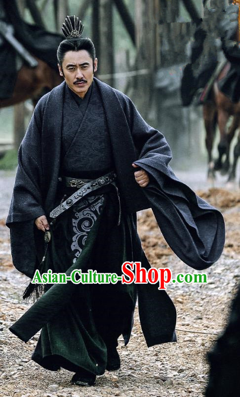 Traditional Ancient Chinese Three Kingdoms Period Minister Costume, The Advisors Alliance Military Counsellor Robe Clothing and Headpiece Complete Set