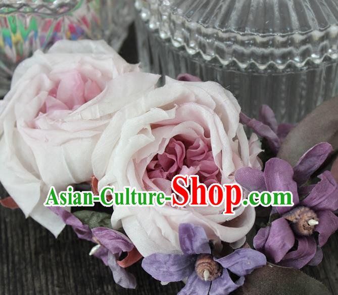 Top Grade Handmade Wedding Bride Hair Accessories, Traditional Princess Wedding Silk Rose Hairpins Headwear for Women