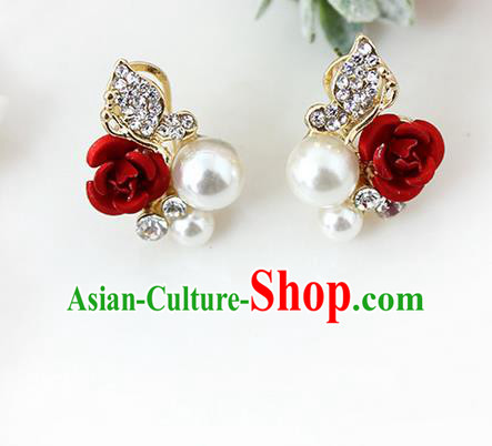 Top Grade Handmade China Wedding Bride Accessories Pearl Earrings, Traditional Princess Wedding Rose Eardrop for Women
