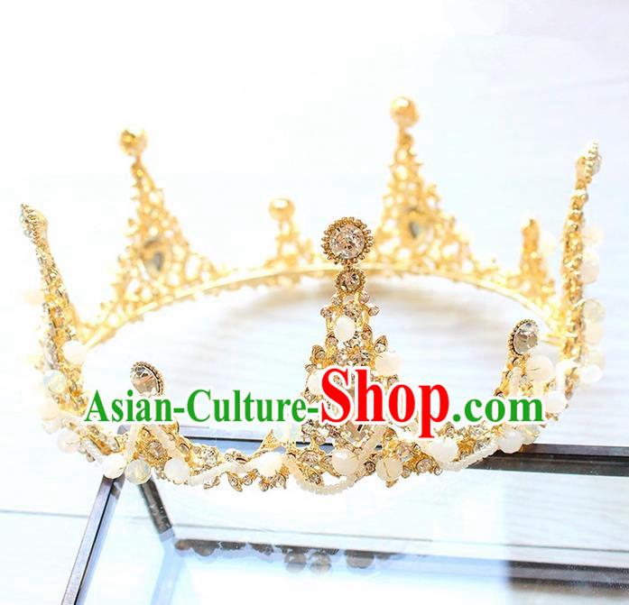 Top Grade Handmade Wedding Bride Hair Accessories Luxury Round Crystal Crown, Traditional Baroque Princess Crystal Royal Crown Wedding Headwear for Women