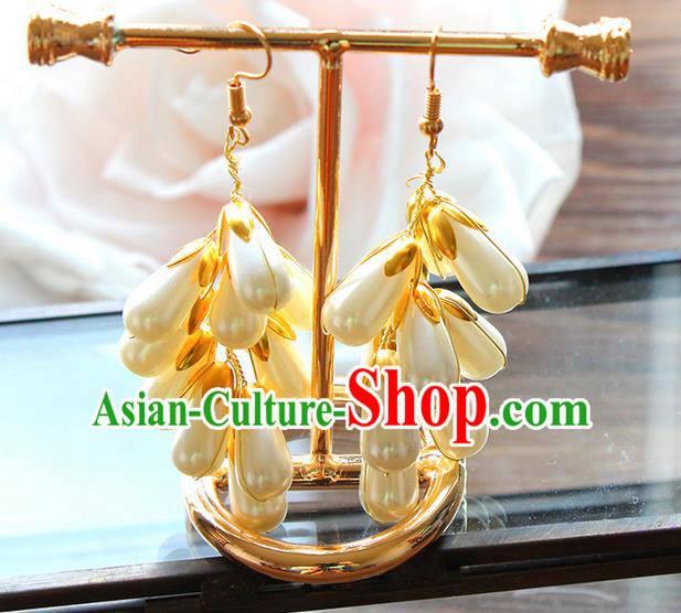Top Grade Handmade China Wedding Bride Accessories Pearl Earrings, Traditional Princess Eardrop Wedding Jewelry for Women