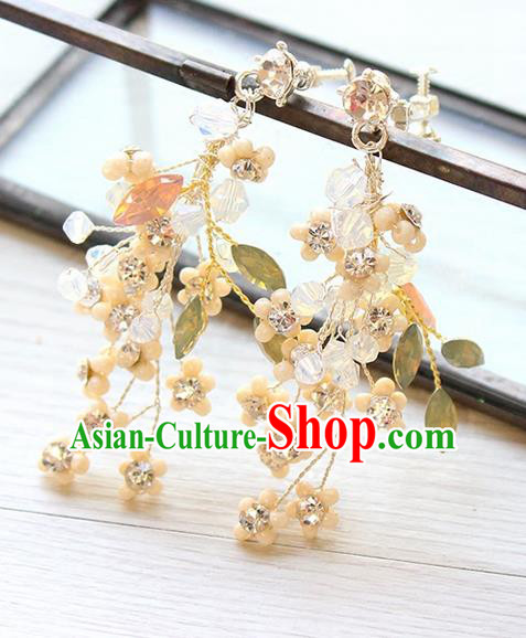 Top Grade Handmade China Wedding Bride Accessories Crystal Earrings, Traditional Princess Eardrop Wedding Jewelry for Women