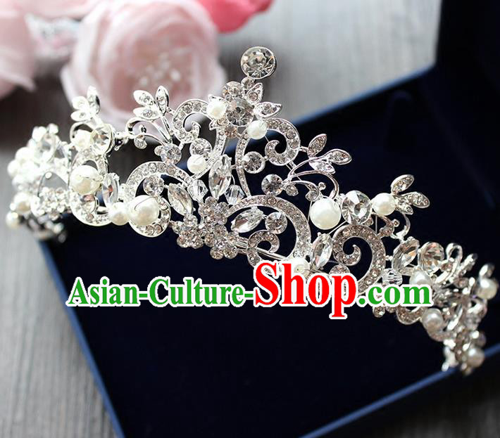 Top Grade Handmade Wedding Bride Hair Accessories Luxury Crystal Crown, Traditional Baroque Princess Pearl Royal Crown Wedding Headwear for Women