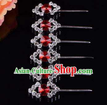 Chinese Ancient Peking Opera Head Accessories Diva Red Crystal Hairpins Rhombus Step Shake, Traditional Chinese Beijing Opera Princess Hua Tan Hair Clasp Head-ornaments