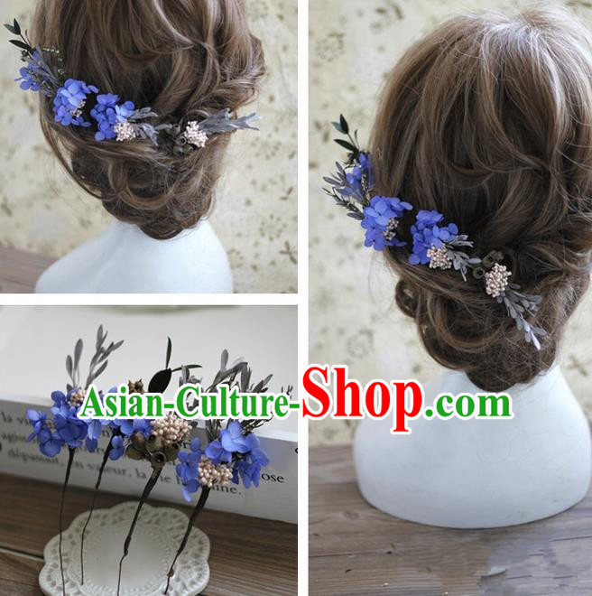 Top Grade Handmade Wedding Bride Hair Accessories Blue Flowers Hairpin Complete Set, Traditional Princess Baroque Headpiece for Women