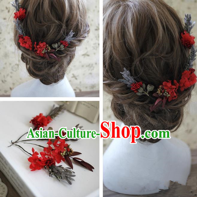 Top Grade Handmade Wedding Bride Hair Accessories Red Flowers Hairpin Complete Set, Traditional Princess Baroque Headpiece for Women