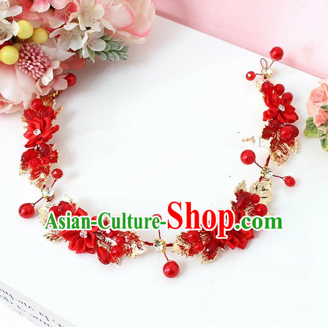 Top Grade Handmade Wedding Bride Hair Accessories Red Flowers Hairpin Head Clasp, Traditional Princess Baroque Headpiece for Women