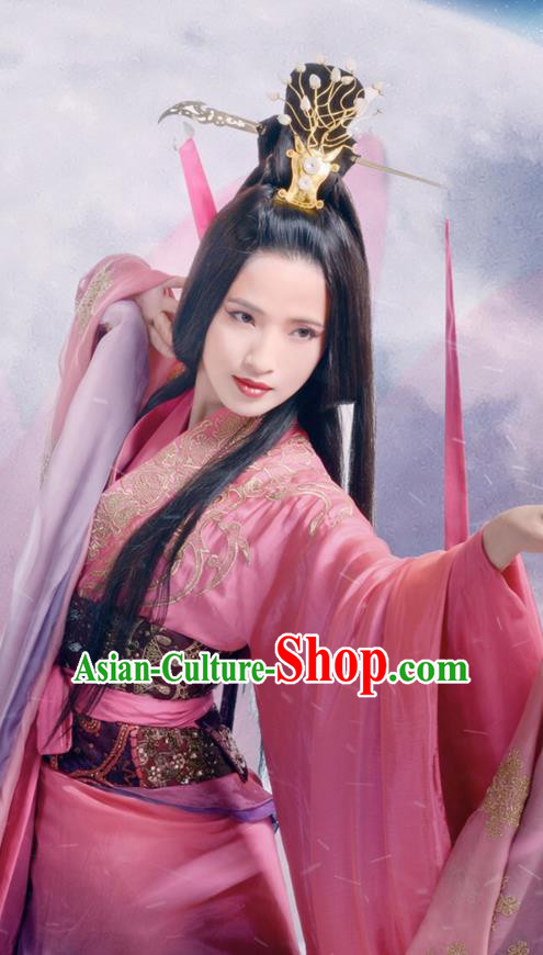 Traditional Ancient Chinese Peri Dance Costume and Headpiece Complete Set, Elegant Hanfu Clothing Chinese Han Dynasty Princess Dance Dress