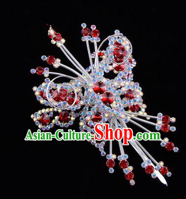 Chinese Ancient Peking Opera Head Accessories Diva Red Colorful Crystal Butterfly Hairpins, Traditional Chinese Beijing Opera Princess Hua Tan Hair Clasp Head-ornaments