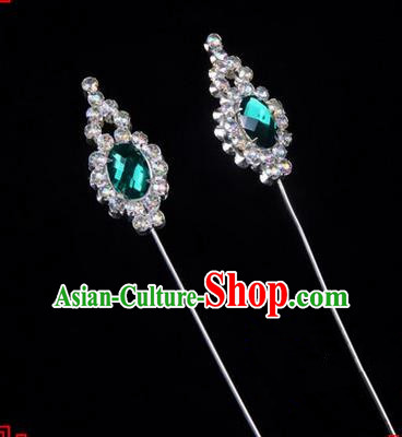 Chinese Ancient Peking Opera Head Accessories Diva Green Crystal Flower Bud Hairpins, Traditional Chinese Beijing Opera Princess Hua Tan Hair Clasp Head-ornaments
