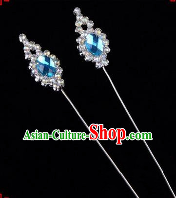 Chinese Ancient Peking Opera Head Accessories Diva Blue Crystal Flower Bud Hairpins, Traditional Chinese Beijing Opera Princess Hua Tan Hair Clasp Head-ornaments