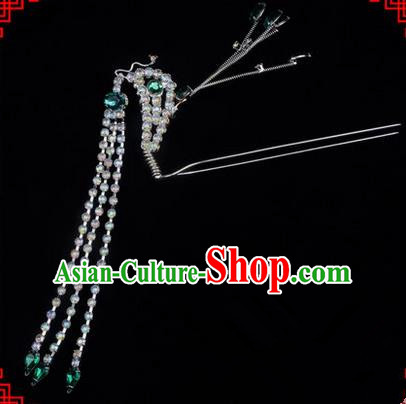 Chinese Ancient Peking Opera Head Accessories Diva Green Crystal Long Tassel Phoenix Hairpins, Traditional Chinese Beijing Opera Princess Hua Tan Hair Clasp Head-ornaments