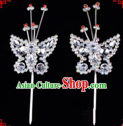 Chinese Ancient Peking Opera Head Accessories Diva White Crystal Beads Butterfly Hairpins, Traditional Chinese Beijing Opera Princess Hua Tan Hair Clasp Head-ornaments