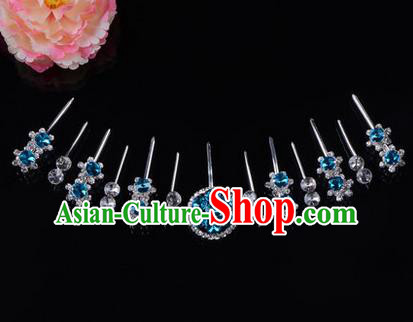 Chinese Ancient Peking Opera Head Accessories Diva Crystal Blue Hairpins Complete Set, Traditional Chinese Beijing Opera Princess Hua Tan Hair Clasp Head-ornaments