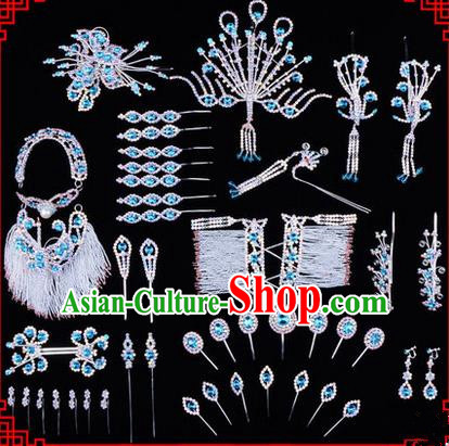 Chinese Ancient Peking Opera Head Accessories Diva Blue Crystal Hairpins, Traditional Chinese Beijing Opera Princess Hua Tan Hair Clasp Head-ornaments Complete Set