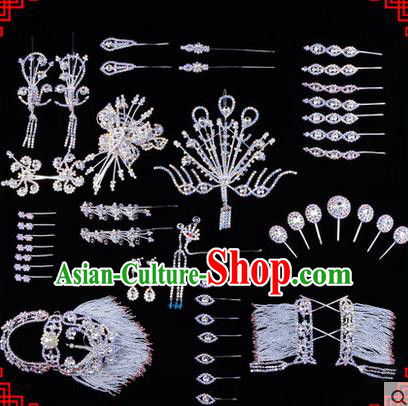 Chinese Ancient Peking Opera Head Accessories Diva White Crystal Hairpins, Traditional Chinese Beijing Opera Princess Hua Tan Hair Clasp Head-ornaments Complete Set