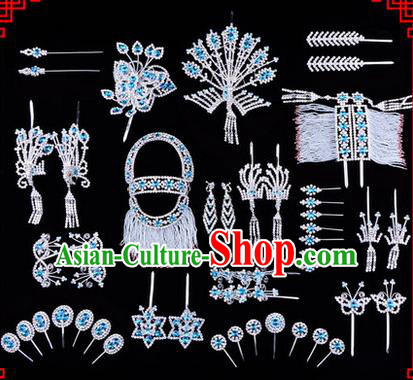 Chinese Ancient Peking Opera Head Accessories Diva Blue Crystal Phoenix Coronet Hairpins, Traditional Chinese Beijing Opera Princess Hua Tan Hair Clasp Head-ornaments Complete Set