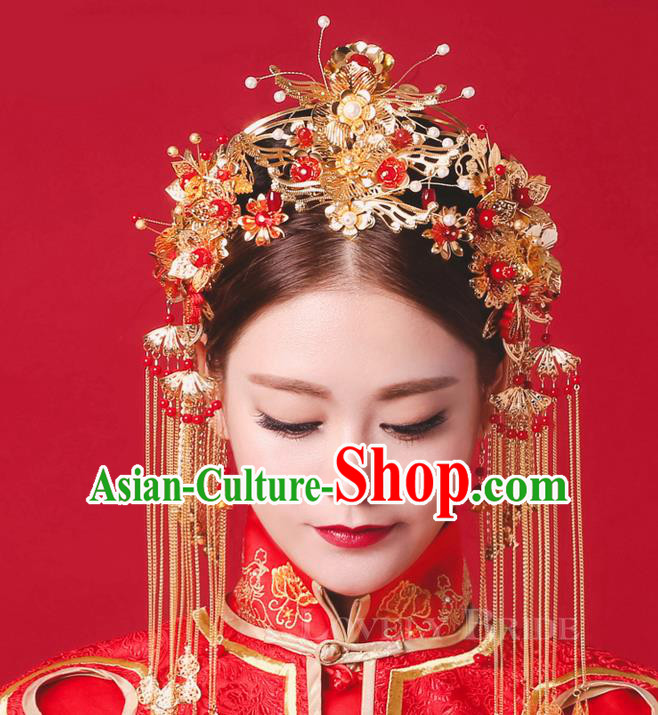 Top Grade Chinese Handmade Wedding Hair Accessories Complete Set, Traditional China Xiuhe Suit Bride Forehead Ornament Phoenix Coronet Hanfu Tassel Hairpins Headwear for Women