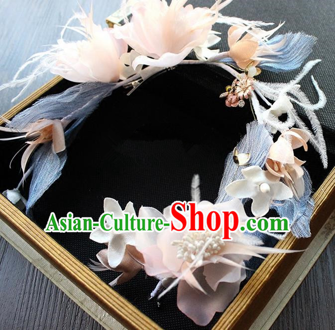 Top Grade Handmade Wedding Bride Hair Accessories Headwear Feather Hair Clasp, Traditional Princess Baroque Flowers Headpiece for Women