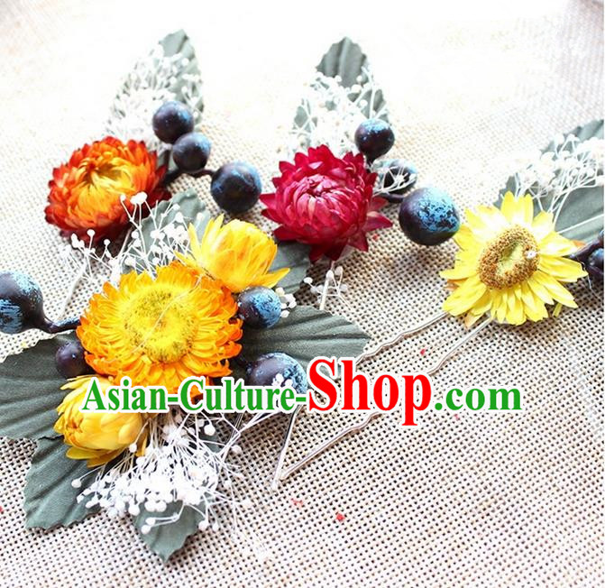 Top Grade Handmade Wedding Bride Hair Accessories Headwear Daisy Flower Hairpins, Traditional Princess Baroque Headpiece for Women