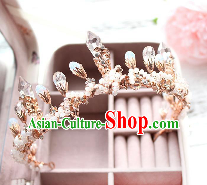 Top Grade Handmade Wedding Bride Hair Accessories Luxury Queen Crystal Crown, Traditional Baroque Princess Royal Crown Wedding Headwear for Women
