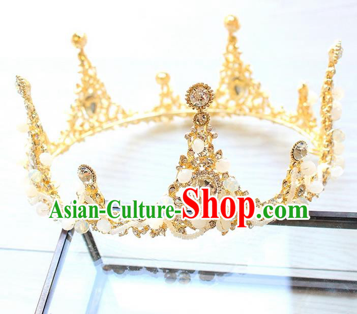 Top Grade Handmade Wedding Hair Accessories Bride Luxury Crystal Round Golden Crown, Traditional Baroque Princess Royal Crown Wedding Headwear for Women
