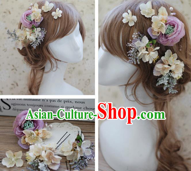 Top Grade Handmade Wedding Bride Hair Accessories Headwear Purple Peach Flower Hairpins, Traditional Princess Baroque Headpiece for Women