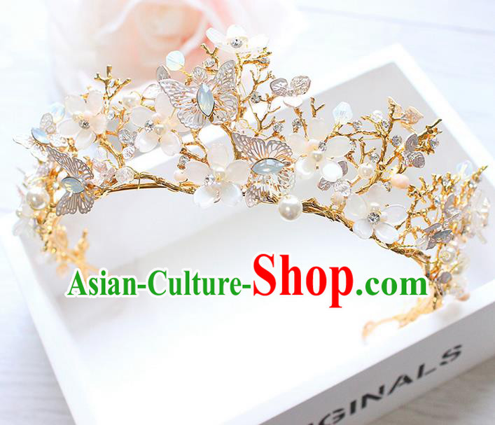 Top Grade Handmade Wedding Hair Accessories Bride Luxury Crystal Butterfly Golden Crown, Traditional Baroque Princess Royal Crown Wedding Headwear for Women