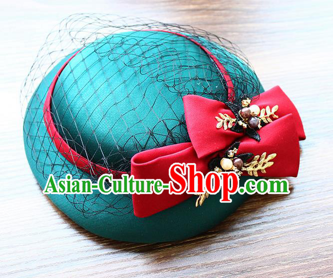 Top Grade Handmade Wedding Bride Hair Accessories Flowers Green Hat, Traditional Princess Baroque Top Hats Headpiece for Women