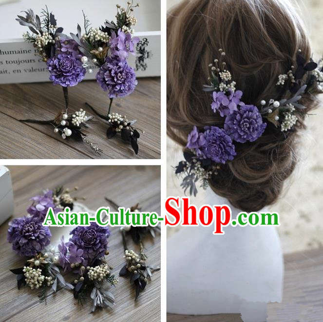 Top Grade Handmade Wedding Bride Hair Accessories Purple Flowers Headwear, Traditional Princess Baroque Hair Stick Headpiece Hairpins Complete Set for Women