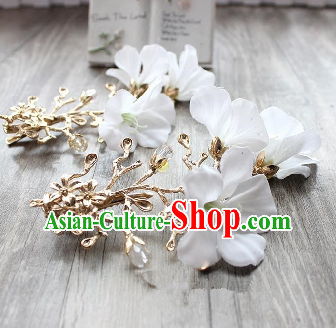 Top Grade Handmade Wedding Bride Hair Accessories White Flowers Hair Claws, Traditional Princess Baroque Hair Stick Headpiece for Women