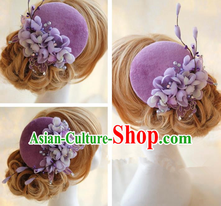 Top Grade Handmade Wedding Bride Hair Accessories Hat, Traditional Princess Baroque Purple Flowers Top Hat Headpiece for Women