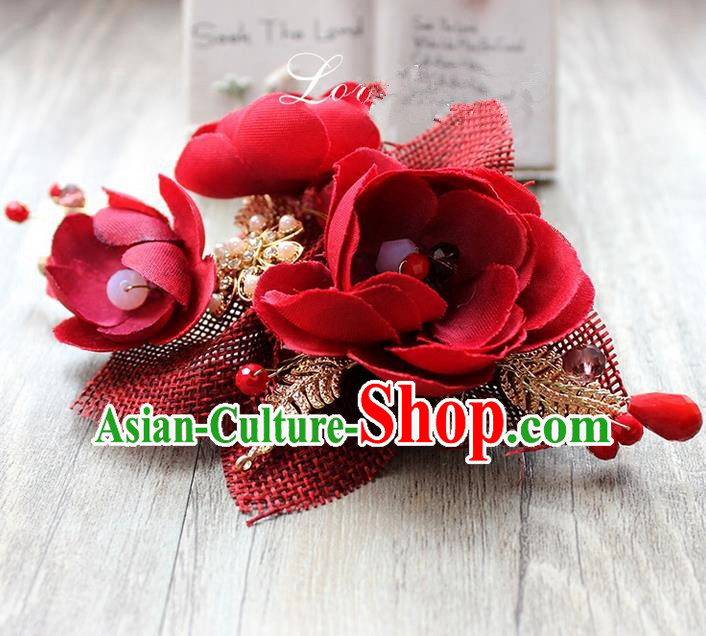 Top Grade Handmade Wedding Bride Hair Accessories Linen Red Flowers Hair Claws, Traditional Princess Baroque Hair Stick Headpiece for Women