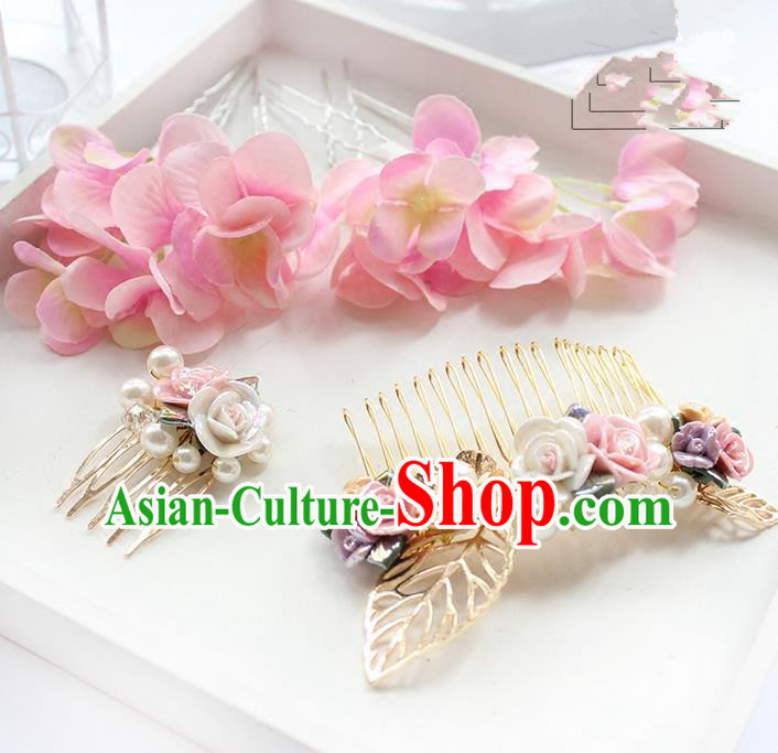 Top Grade Handmade Wedding Bride Hair Accessories Pink Flower Hairpins and Hair Combs, Traditional Princess Baroque Headband Headpiece for Women